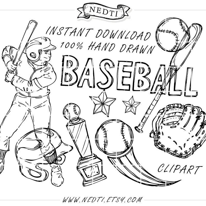 Baseball Doodles Hand Drawn Vector Sketchy Sketched