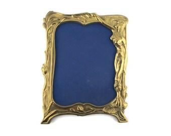 Art Nouveau Enamel Brass Picture Frame/Large JUGENDSTIL Art Deco Floral  Nymph  Frame/Modernismo Marco de la Foto/Ottone Art Nouveau Cornice