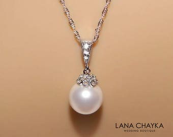 White Drop Pearl Bridal Necklace Swarovski 10mm White Pearl Sterling Silver CZ Necklace Bridal Pearl Jewelry Wedding Single Pearl Necklace