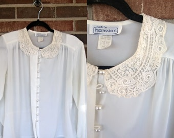 White Peter Pan Lace Collar Long Sleeve Button Up Blouse, 12