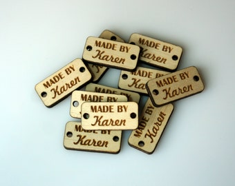 Custom Wood Tags Personalized Buttons Small Wooden Tags Engraved Knitting Buttons Craft Buttons Business Tags Laser Cut Logo Engraved