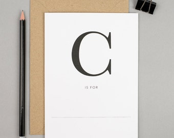 Chin up encouragement card, monogram greetings card, c is for, personalised name card, celebrate with us card, nothing but lovely