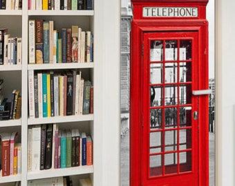 London Phone Booth, Door Decal, Door Mural, Phone Booth, Door Decal, Phone Booth Mural, Phone Booth Door Mural, Vinyl Phone Booth