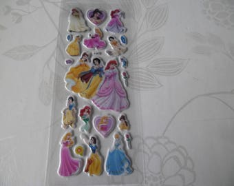 x 1 Board of the pretty Princesses 3D laminated stickers tickers