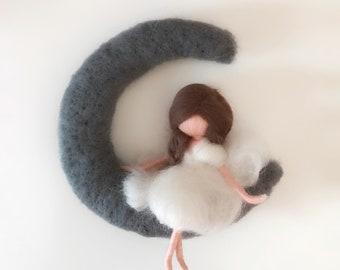 Moon Mobile-needle felted wool Fairy Filzfee Waldorf