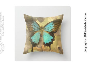 Swallowtail Butterfly Teal Blue Butterfly Nature Dreamy Cottage Decor Throw Pillow Cover