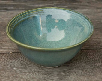 Fruit dish, 5 1/4 Inch, Ocean Green Drip, Natural Patina High Fire Stoneware, Hand Painted, Ready To Ship