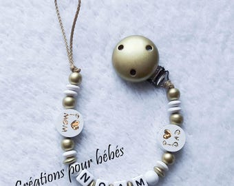 Wood beads boy personalized pacifier clip