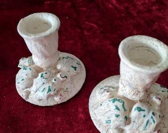 Set of small Christmas candle holders. Hollys and berries. Upcycled! Item#216175