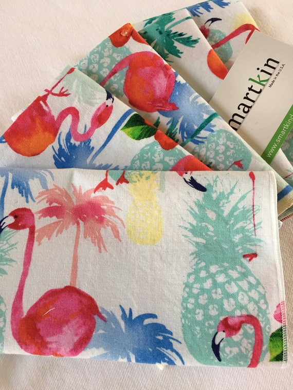 Pink Flamingos Tossed All Cotton Cloth Napkin 12x15 in Size by Smartkin