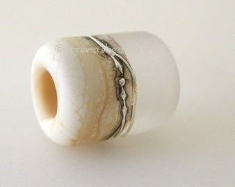 CRYSTAL IVORY BEACH Matte European Tube Charm Lampwork Glass Bead - taneres sra clear cream silvered ivory fine silver - 13x11 mm