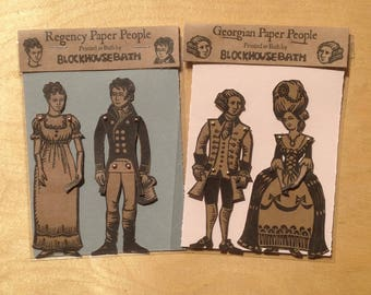 Paper doll, articulated Georgian or Regency paper couple