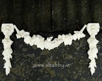Shabby Chic Furniture Mouldings 'Floral Drops Pair'...from www.shabby.ie