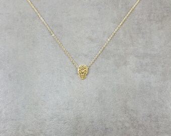 Mexican Skull [GOLD] Plated Calavera Necklace Gift Box Mexican Bone Head Day Dead Dios de los Muertos