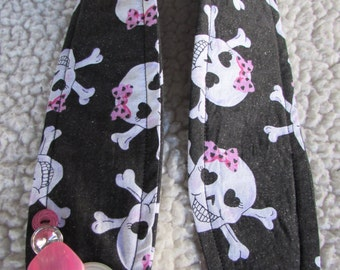 Unique one of a kind Girly Skulls Camera Strap