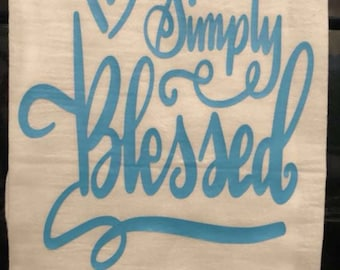 Simply Blessed, Personalized Kitchen Towel, Dish Towel, Tea, Towel, Hand Towel, Hostess Gift, Housewarming Gift, Decorative Towel