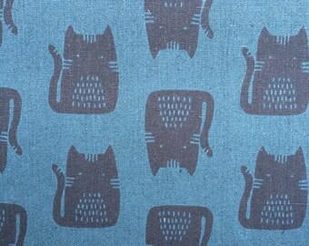 Maker Maker Cats Blue Linen Cotton Fabric