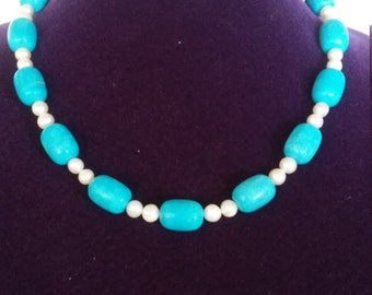 Gorgeous Sky Blue Turquoise with White Pearl Necklace