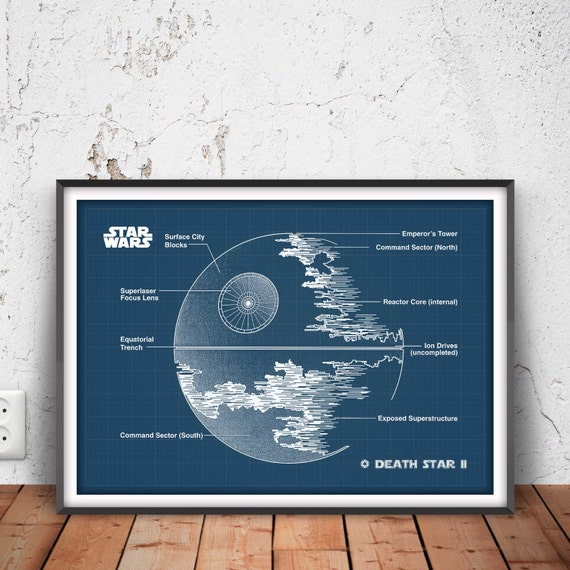 Death star ii poster death star 2 blueprint star wars wall malvernweather Image collections