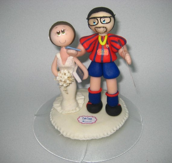 Soccer wedding cake topper / wedding cake topper / futbol