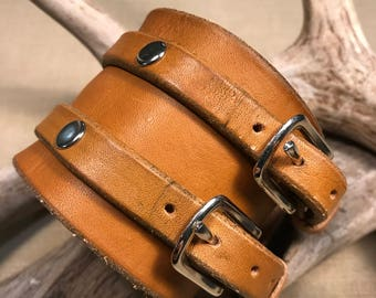 Double Buckle Leather Cuff Bracelet
