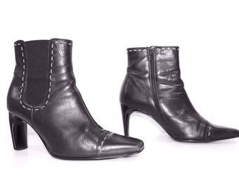 Vintage Black 100% Real Leather GABOR TREND High Heel Ladies Women's Boots Chelsea Size UK7 EU41