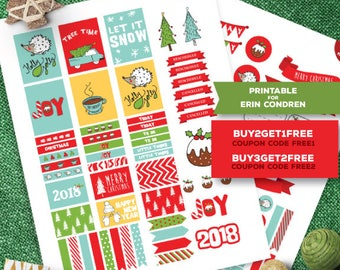 New Years Printable Stickers for Erin Condren, January, Happy New Year, Printable Planner Stickers, Weekly Stickers. Christmas Planner kit