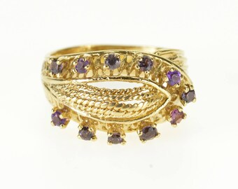 14k Ornate Rope Milgrain Gemstone Encrusted Ring Gold