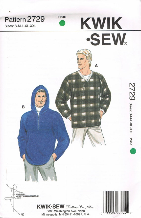 Size S-XXL Men\'s Sewing Pattern - Long Sleeve Pullover Hooded ...