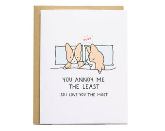 You Annoy Me The Least Card, Corgi Card, Boop Card, Corgi Dog Card, Funny, Relationship, Valentines Card, Corgi Valentine, Funny Valentine