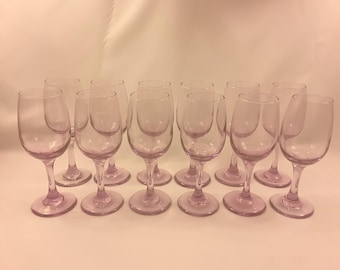 Amethyst/Pink Wine Glasses/Water Goblet Champagne Coupes, Toasting Glasses, Set of 12