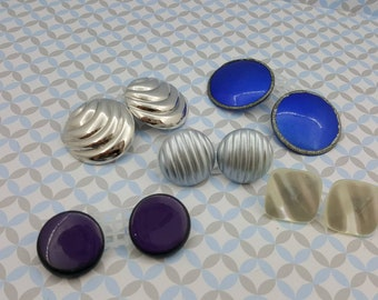 Silvers and Blue Button   Retro Pierced  Earrings Lot of 5 pair Eighties Vibe Lot K