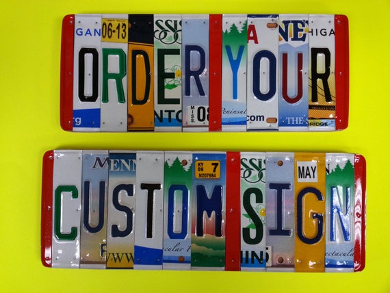 License Plate Sign, Unique Handmade Personalized Gift, Automobile Enthusiast, Child's Name, Word sign,
