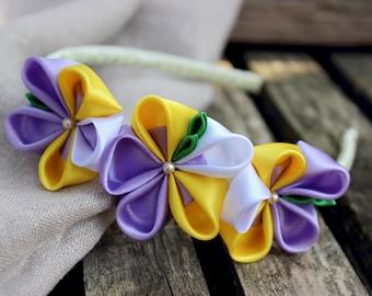 Toddler headband Flower girl gift ideas for Baby girl headband Violet flower headband Yellow baby headband Floral crown Head bands for baby