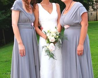 Bridesmaids dress  Middle gray Bridesmaids dress  with chiffon  skirt floor length wrap dress Convertible/Infinity Dress dress