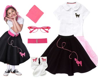 7 pc LARGE Child (10-12) 50's Poodle Skirt OUTFIT