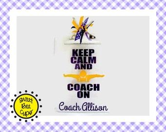 Keep Calm and Coach On Clipboard only, OPTIONAL PERSONALIZATION, Swim Coach Gift, Swim Team, Swim Club Coach Gift, Swimming Coach Gift