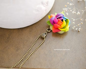 Rainbow gardenia pendant, Gardenia flower necklace, Handmade clay pendant, Rainbow floral jewelry, Bronze pendant, Rainbow wedding