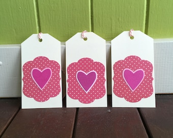 Heart Gift Tags, Pink Gift Tag Set, Pretty Gift Tags, Mother's Day Gift Wrapping Tags for Her, Birthday Present Tags, ShopMillyT Tags