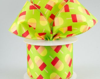 """Ribbon by the yard, Wired 2.5"""" lime Popsicle ribbon, Wreath making, Arrangement, Scrap-booking, Craft ribbon, Wired lime green edge"""