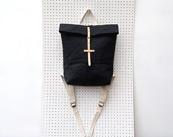 Last one sale. Black Foldover backpack. Washed canvas/waterproof ripstop lining. Nude leather and brass details.