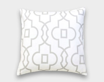 French Grey Bordeaux Pillow Cover. Geometric Lattice. 16X16, 18X18, 20X20 Inches. Gray Cushion Cover.