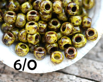 Hybrid TOHO Seed beads, size 6/0, Opaque Dandelion Picasso, Y319, yellow seed beads, rocailles - 6g - S790