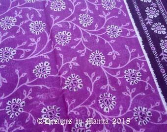 Indian Saree Fabric, Purple Floral Printed Fabric, Cotton Sari Fabric, Belly Dancing Fabric, Floral Print Muslin Fabric, Sheer Cotton Fabric