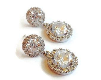 Wedding Earrings - Round Bridal Earrings - Cubic Zirconia Bridal Earrings - Bridesmaid Gift - Wedding Jewelry