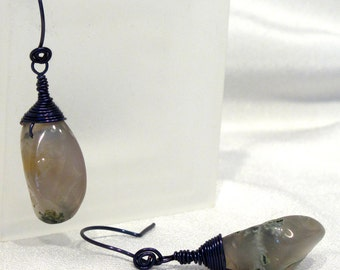 Green Tree Agate Navy Blue Wire-wrapped Nugget Dangle Earrings - E98