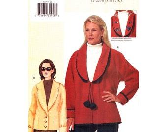 Womens Jacket Pattern Vogue 7359 Raglan Coat Shawl Collar, Car Coat Pockets Womens Sewing Pattern Bust 38 40 43 UNCUT