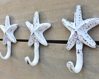 Shabby Chic Starfish Hook, Chalk White Distressed Finish