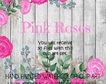 Instant Download - Watercolor Pink Roses Clip Art Set - Item# 104