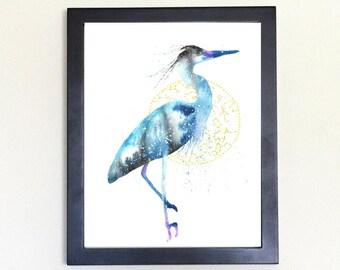 Blue Heron Spirit Animal Art Print Watercolor Totem Guide